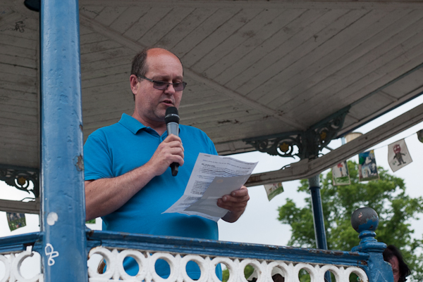 Graham Hobbins talks on the Bandstand about Citizen of the Year